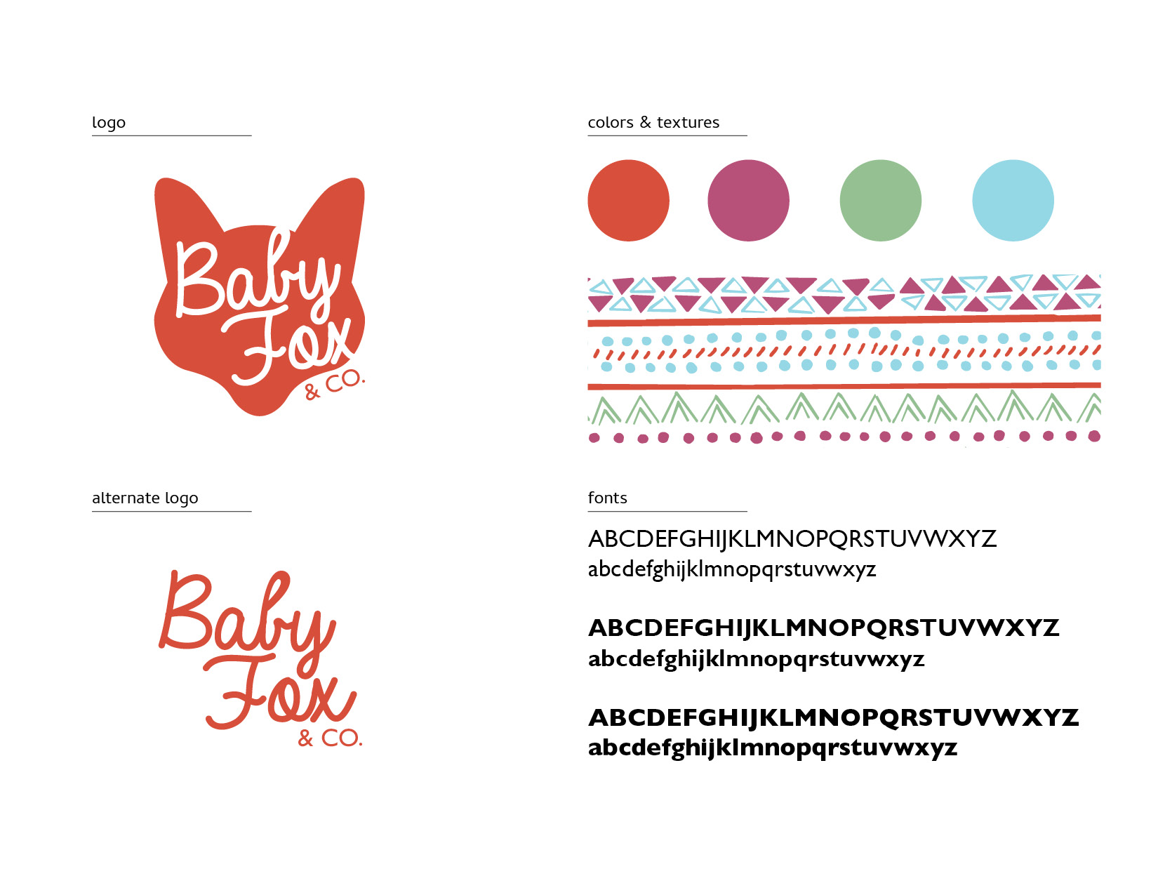 Baby Fox & Co Case Study Brand Board