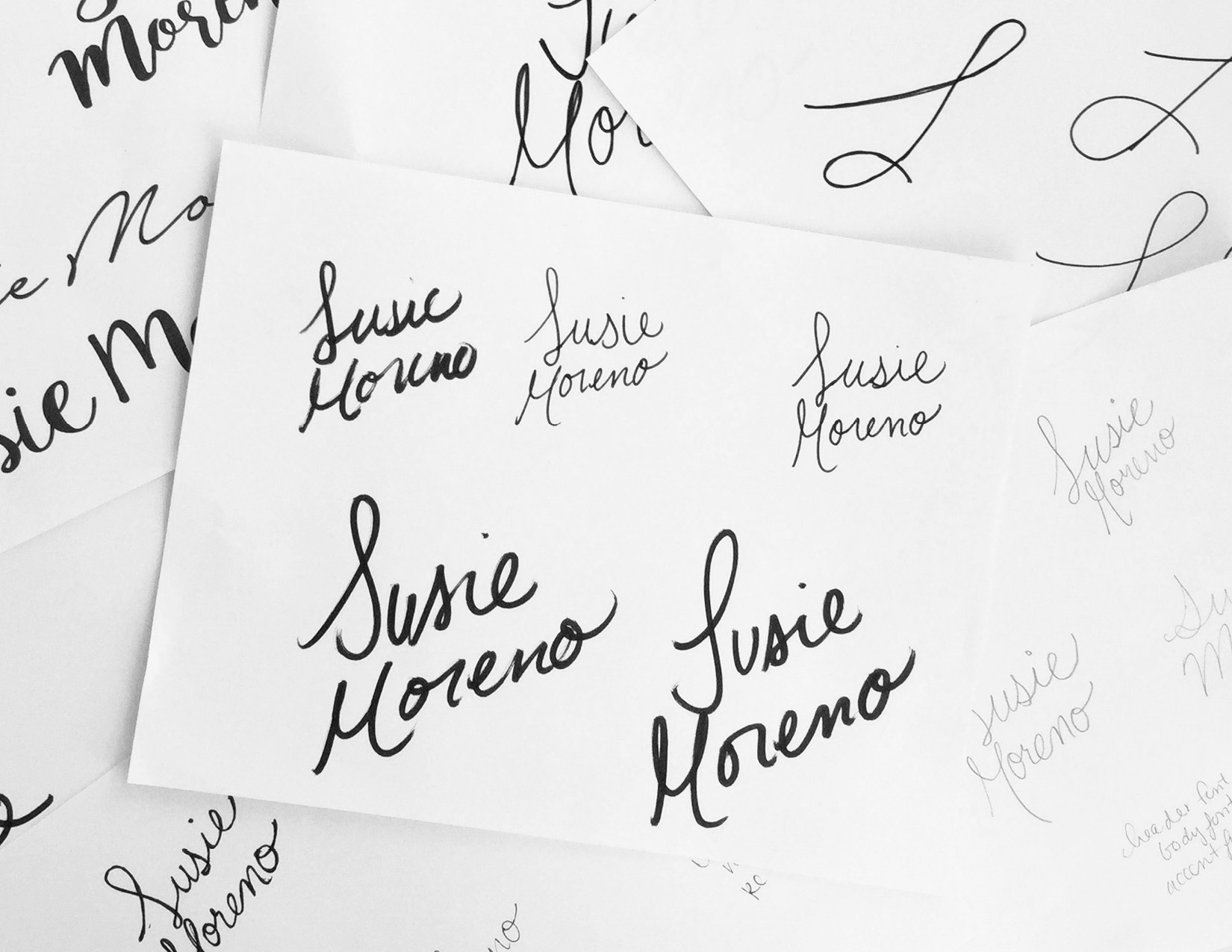 Susie Moreno Photography Case Study Logo Sketches