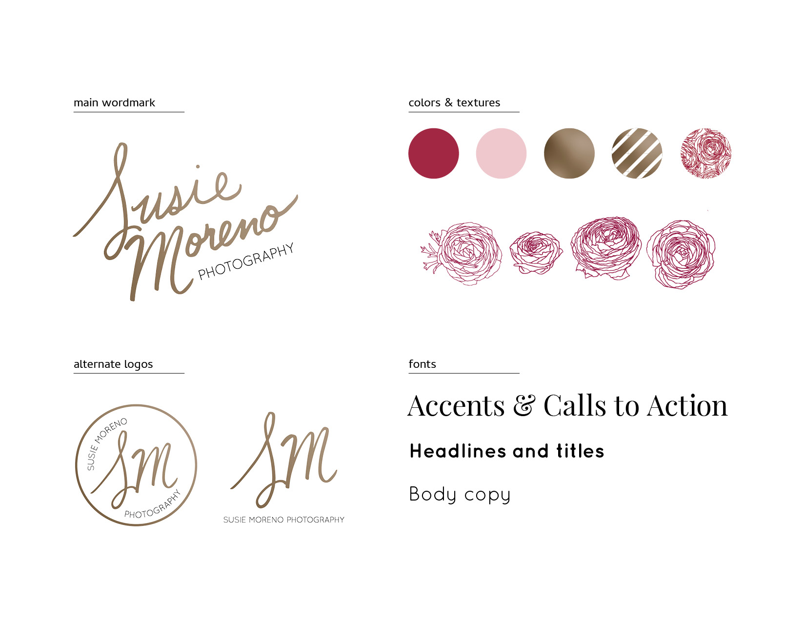 Susie Moreno Photography Case Study Logo & Supporting Elements