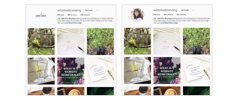 Instagram profile image types