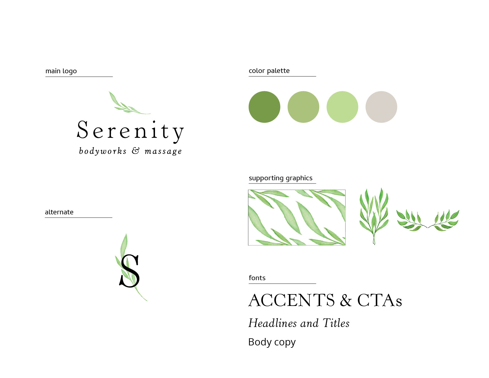 Serenity Body Works and Massage Brand Elements