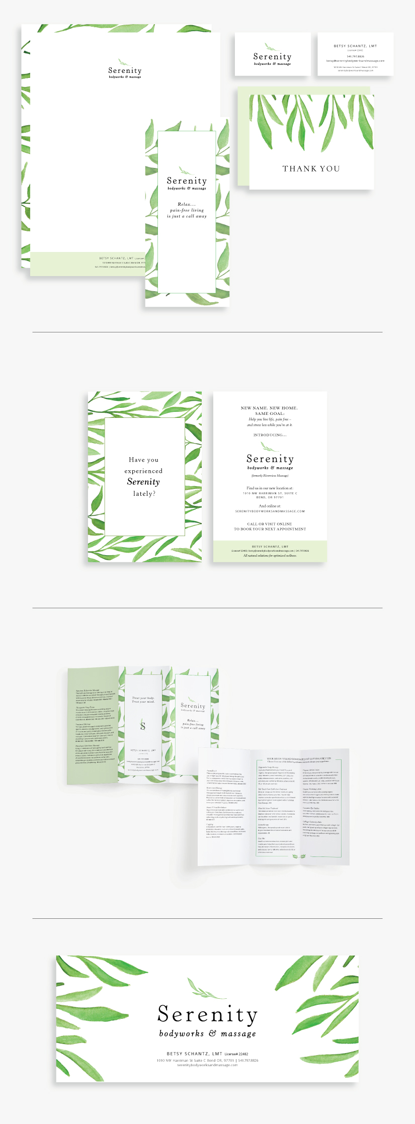 Serenity Body Works and Massage Print Design