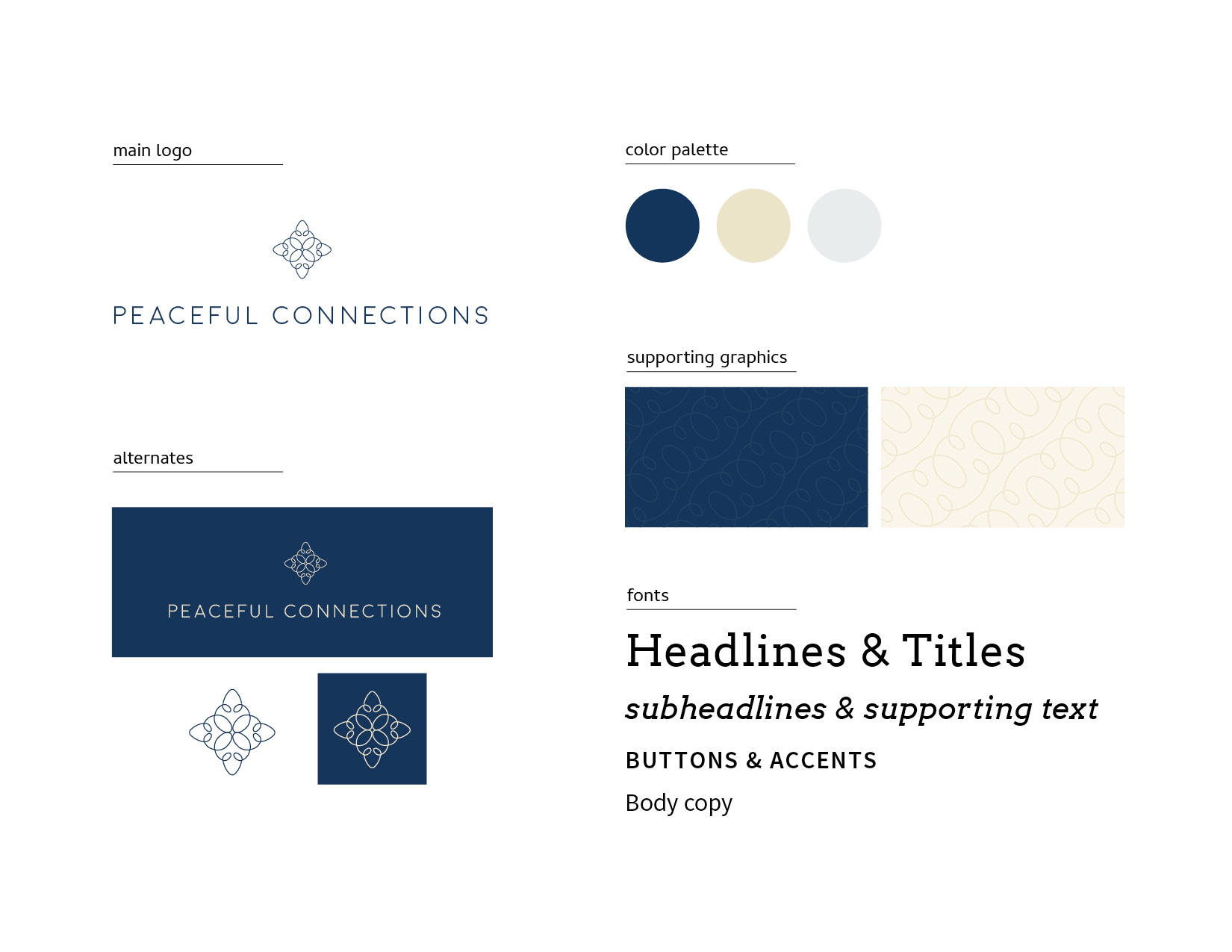 massage therapy branding: Peaceful Connections Supporting Design Elements