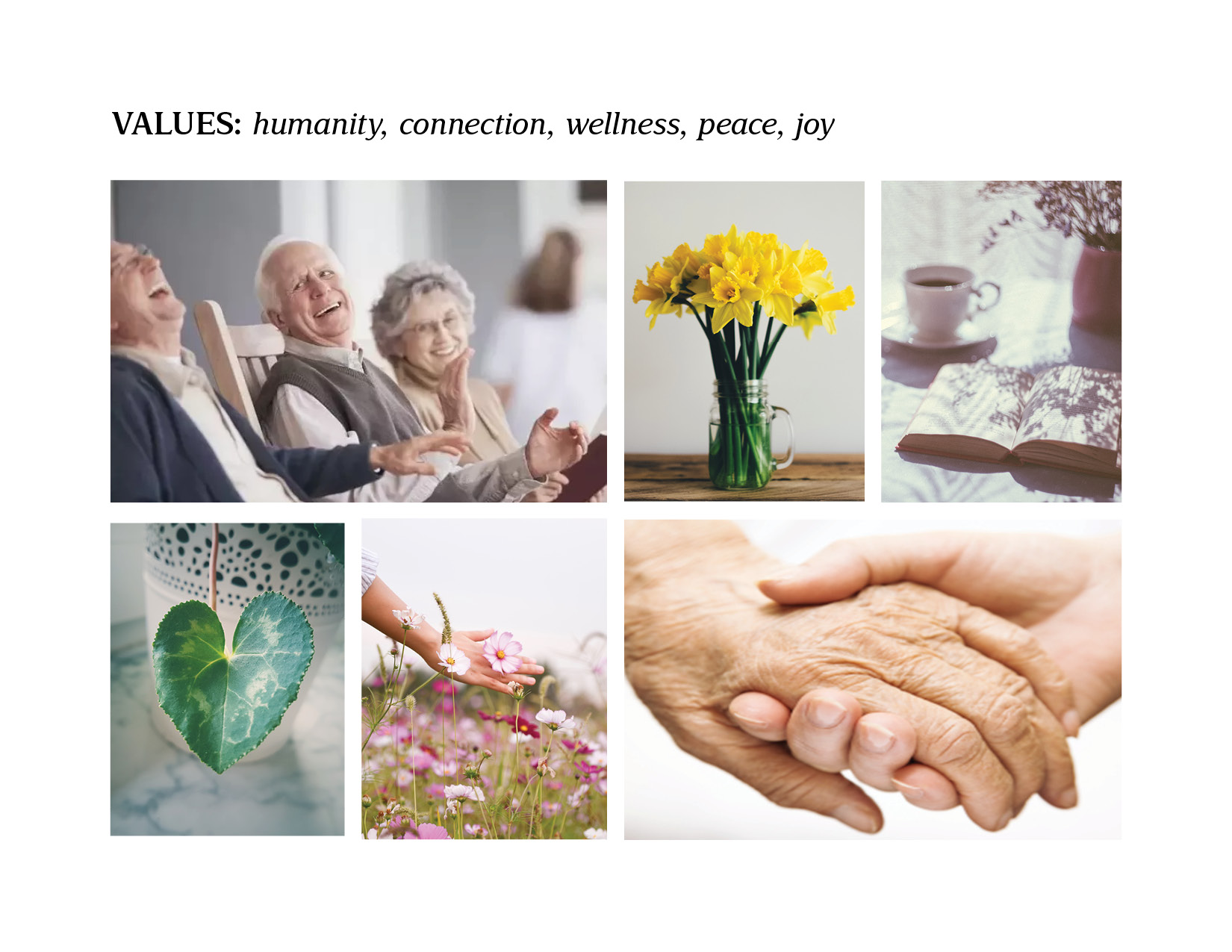 massage therapy branding: Peaceful Connections Values Board